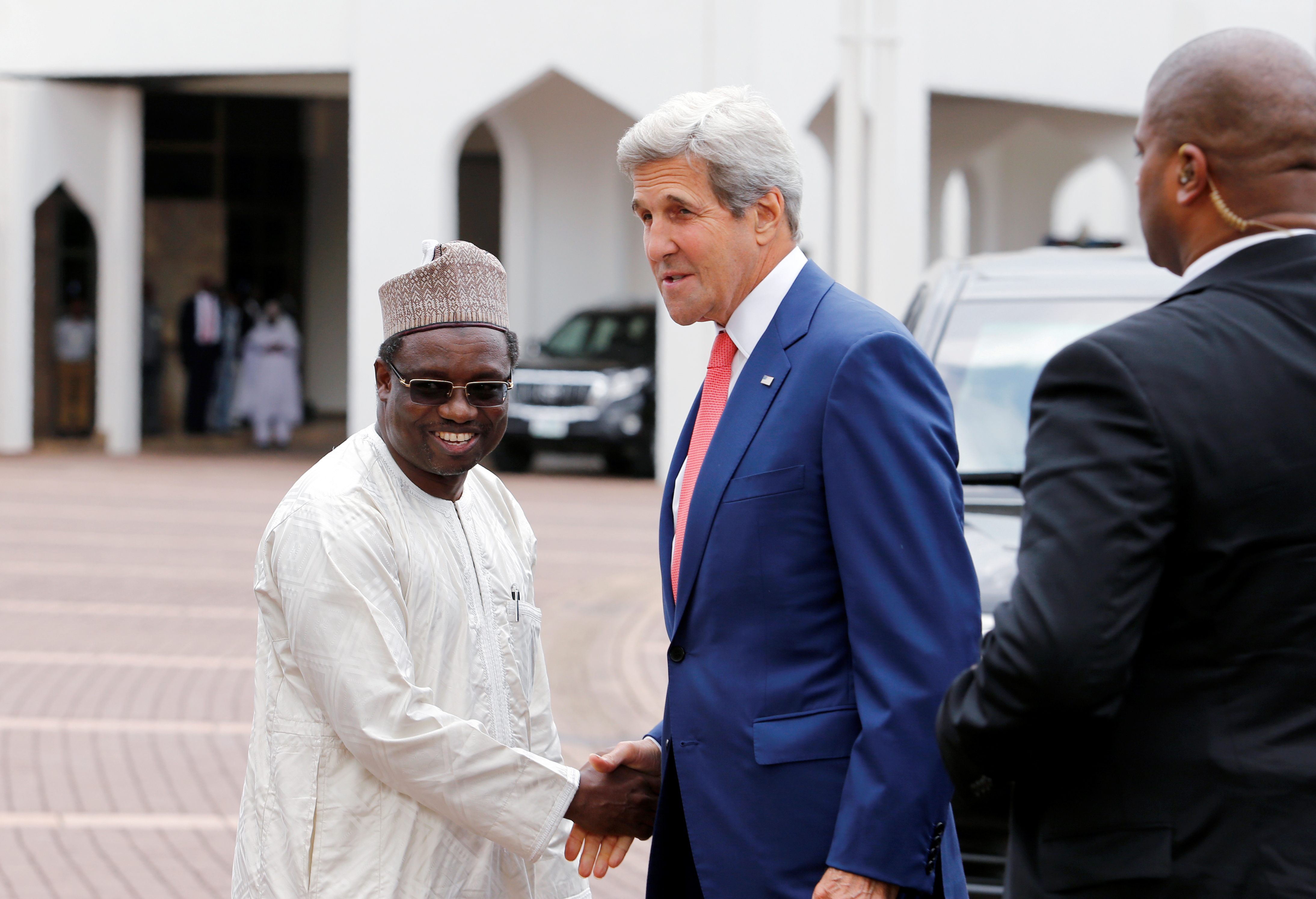 Secretary of State John Kerry arrives at the Presidential villa in Nigeria
