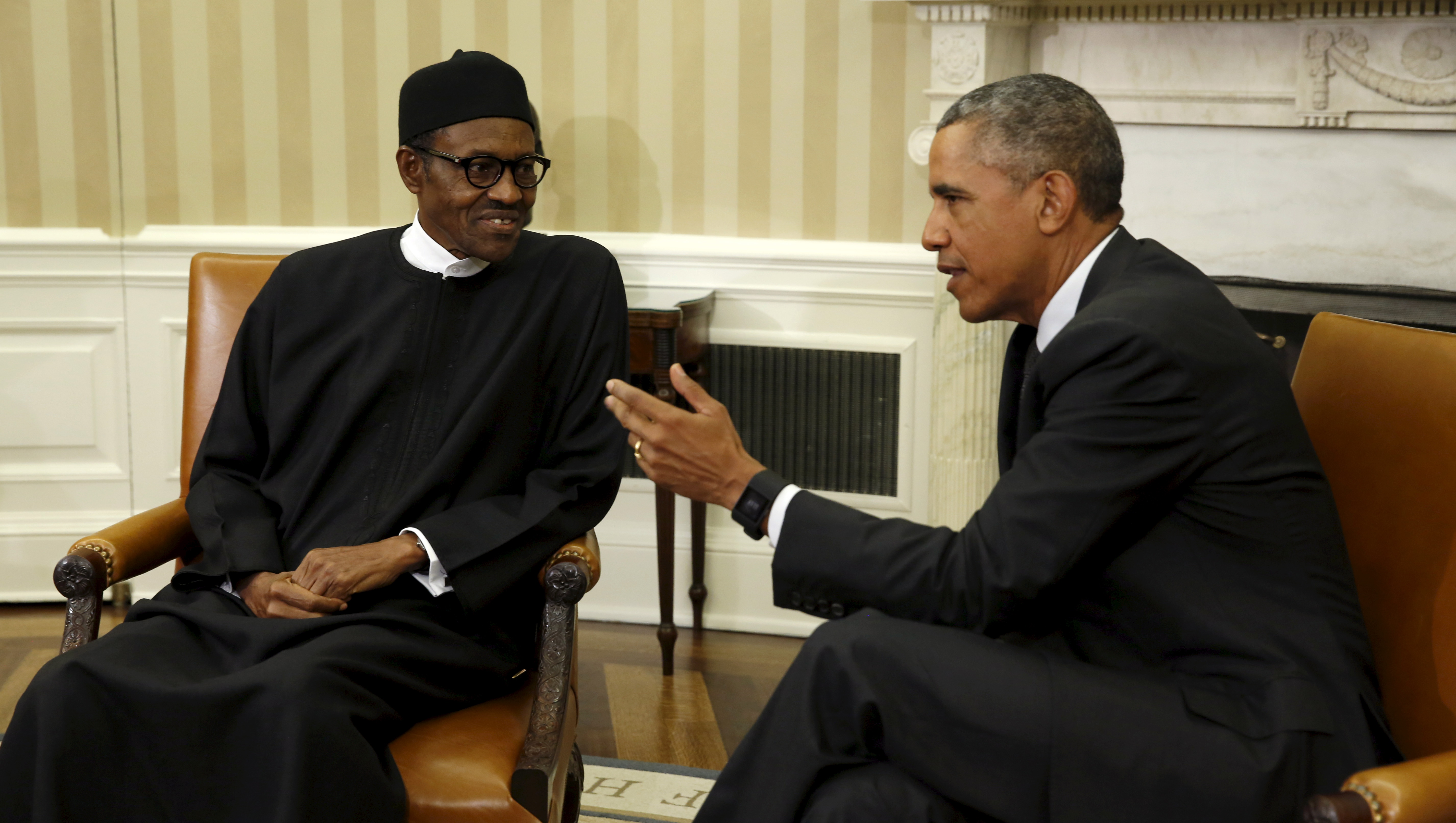 U.S President Obama speaking with Nigerian President Buhari