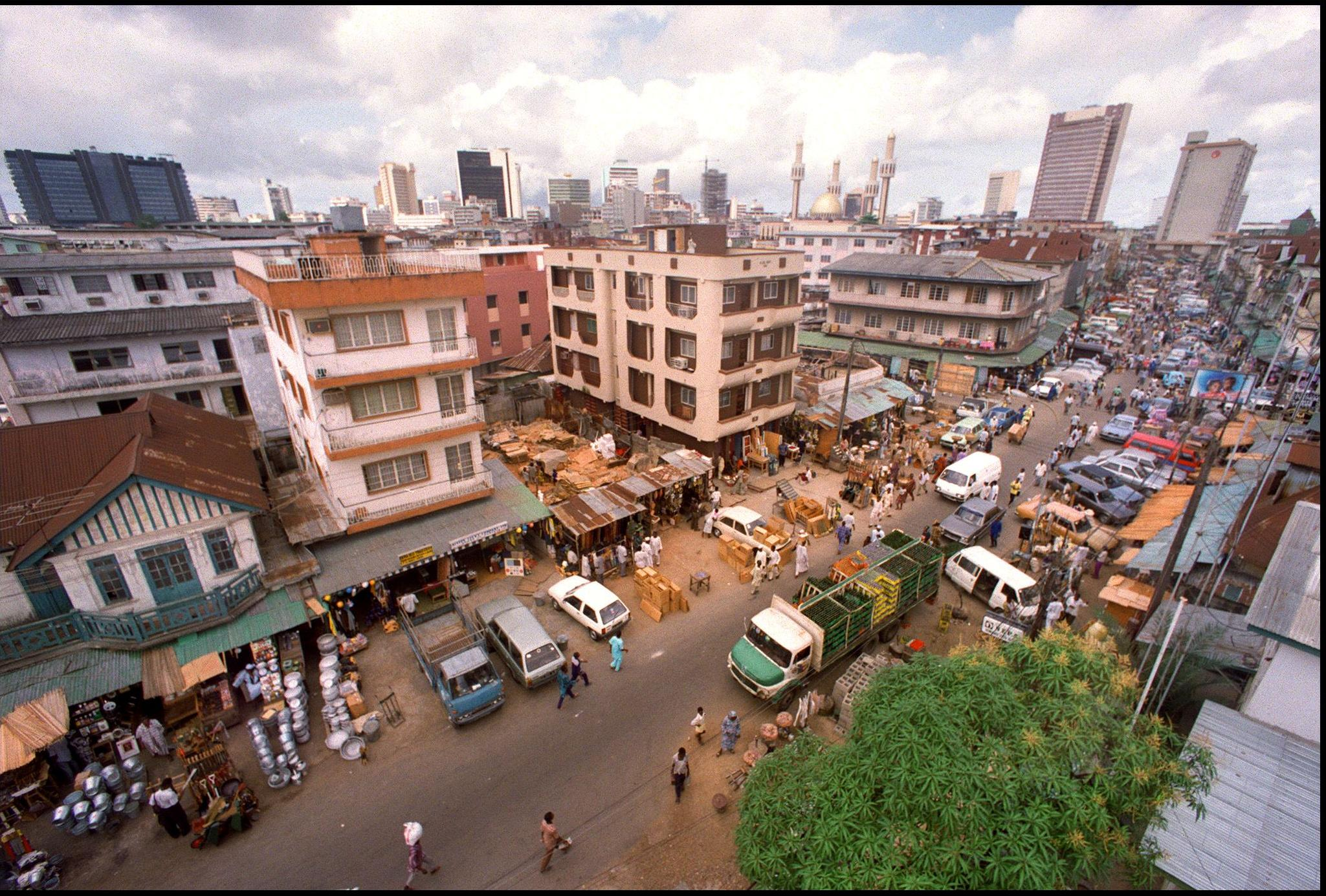 Aerial view of a street in Lagos, Nigeria