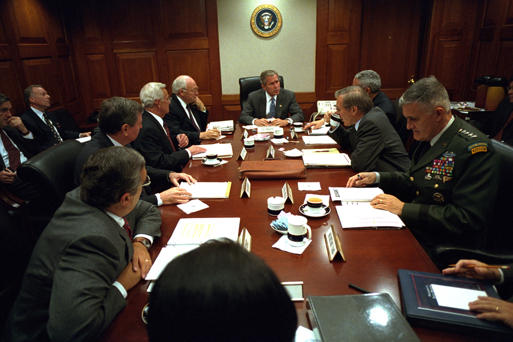 President Bush leads a meeting of the National Security Council.