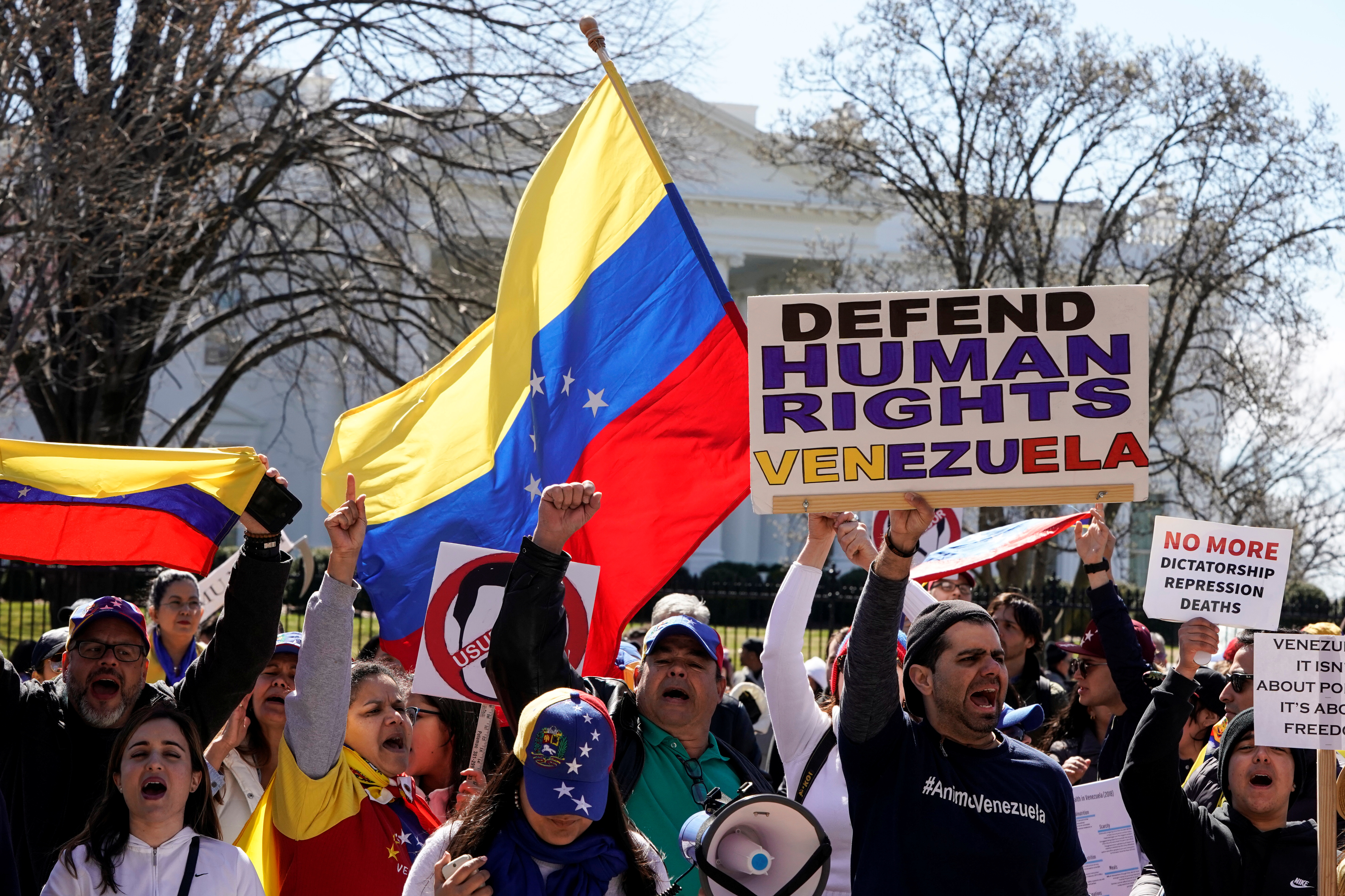 Maduro opponents protest outside the white house