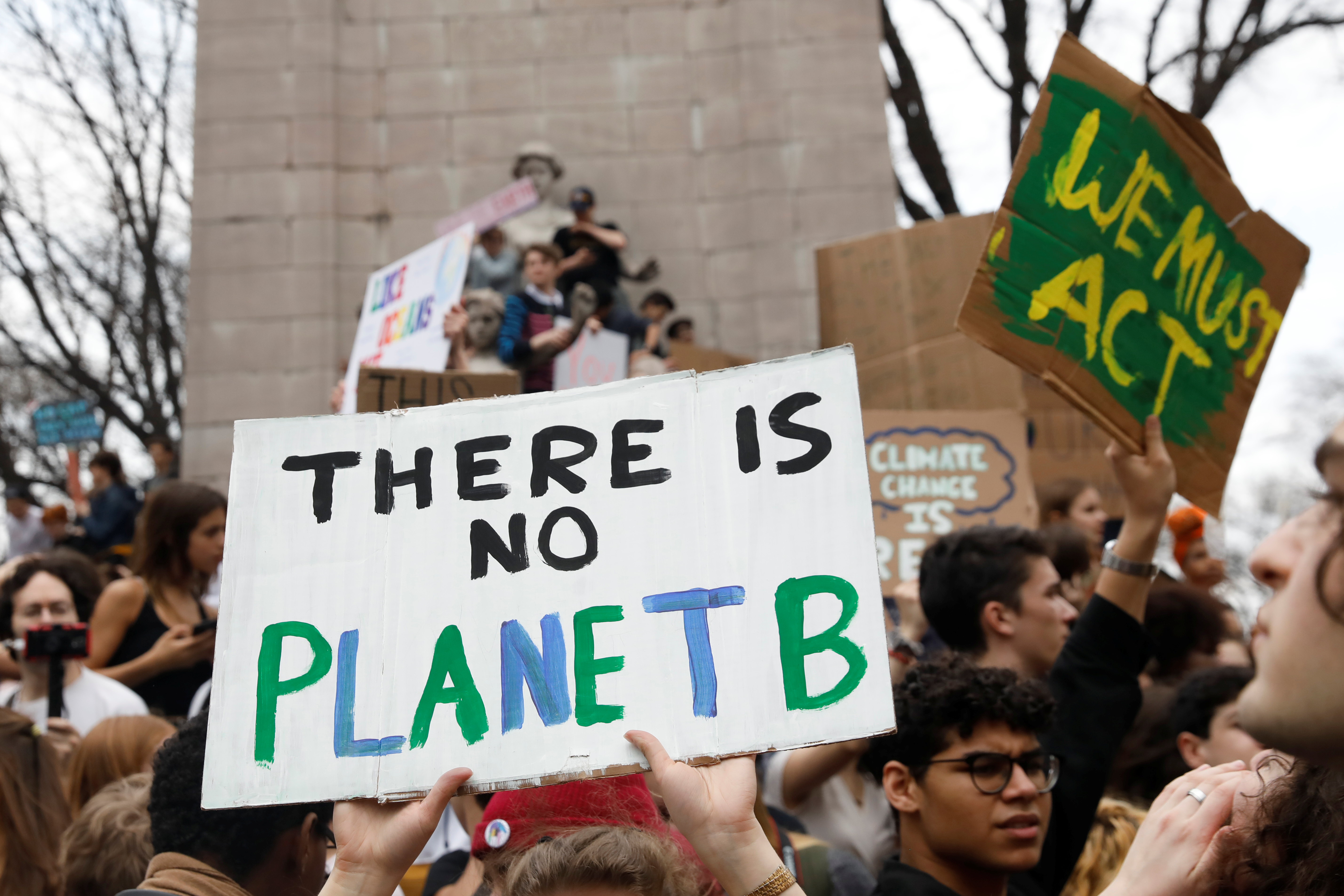 "sign at U.S. climate change protest that reads ""There is no Planet B"""