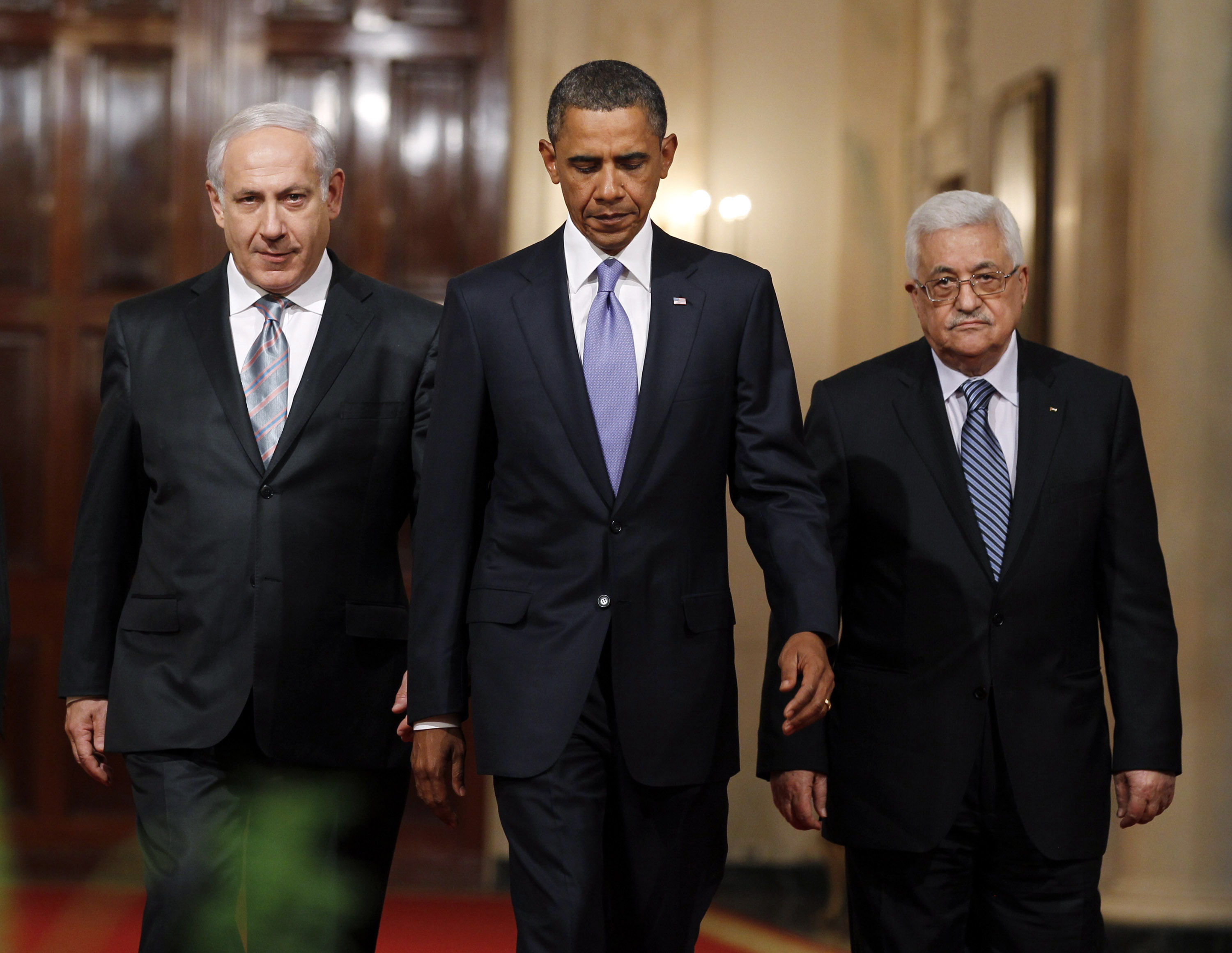 President Barack Obama  with Israeli Prime Minister Benjamin Netanyahu and Palestinian President Mahmoud Abbas