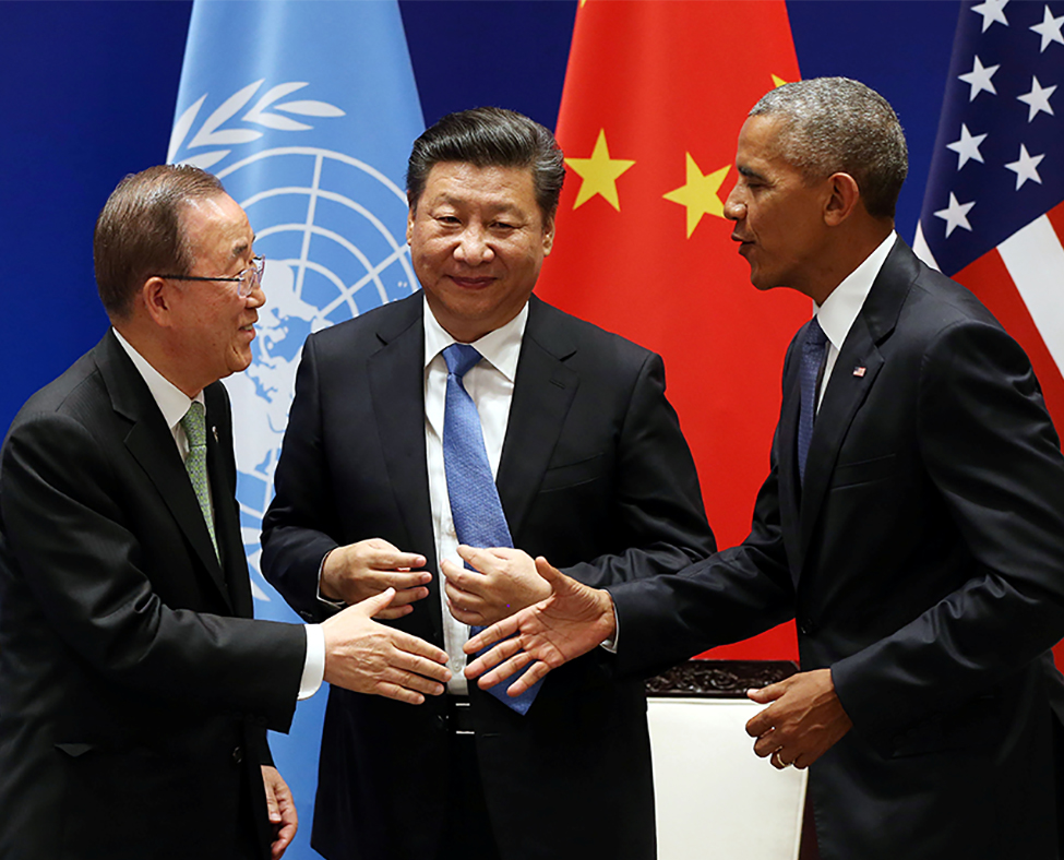 Obama, Xi Jinping, and Ban Ki Moon.
