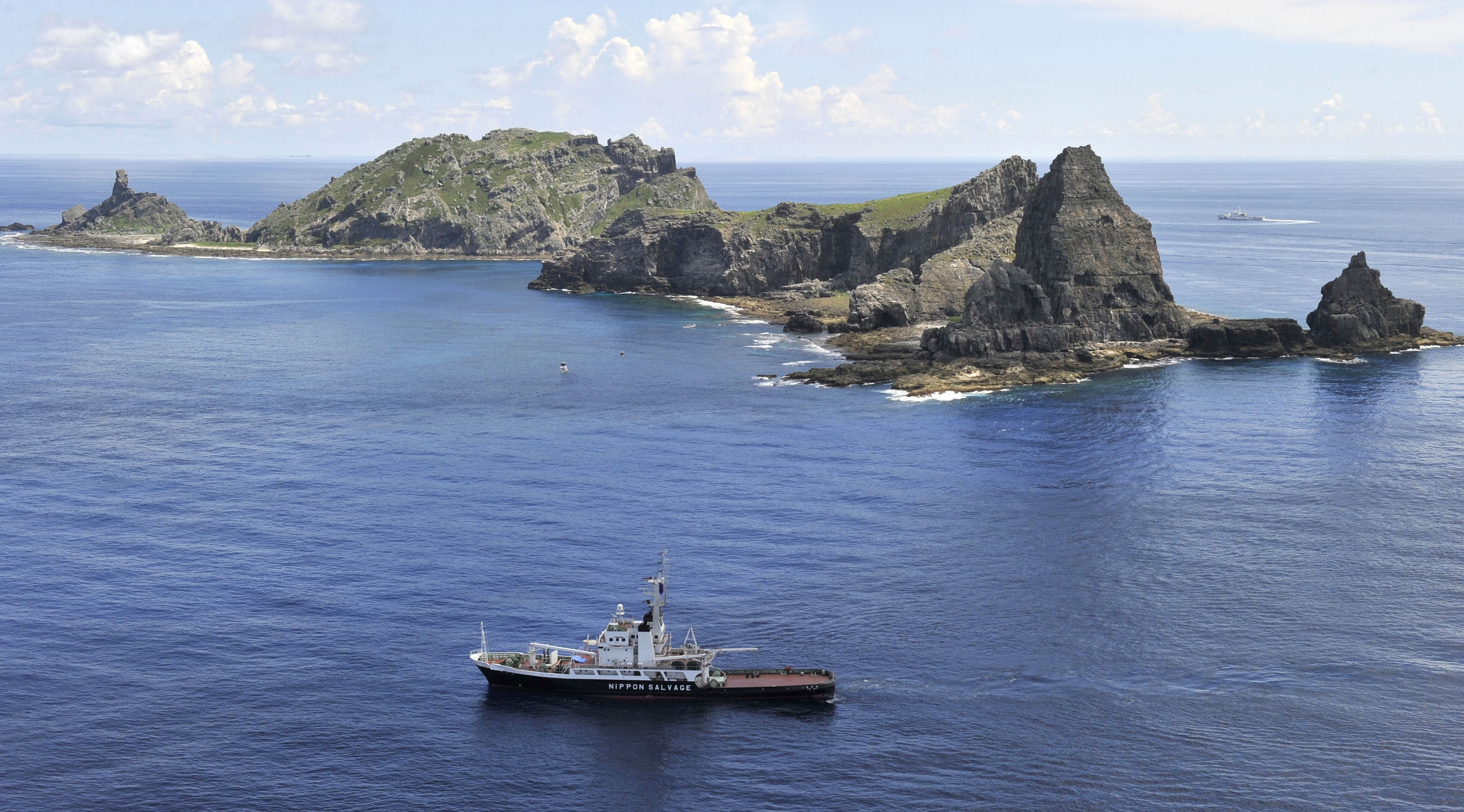 A vessel sails around a group of disputed islands known as Senkaku in Japan and Diaoyu in China in the East China Sea