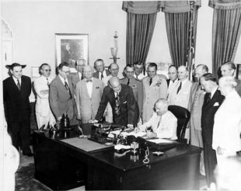 President Truman signing the National Security Act