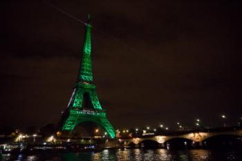 Eiffel Tower lit up as the Paris Agreement enters into force