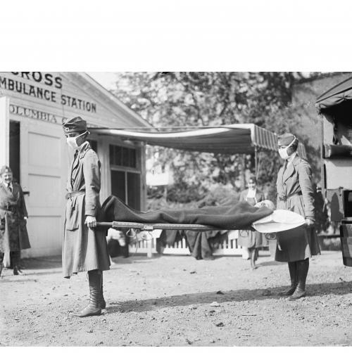 nurses carrying influenza patient