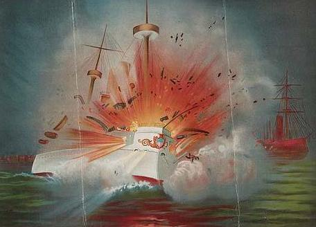 Illustration of boat exploding at a harbor