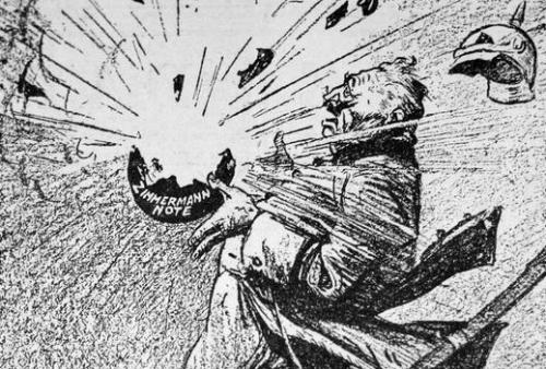 "Cartoon of a man holding a bomb exploding that says ""Zimmerman Note"" on it"