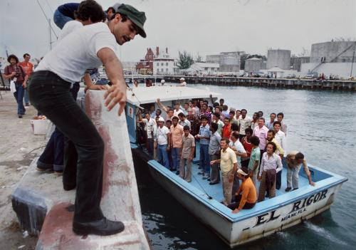 A boat arrives in Key West, Florida with more Cuban refugees April, 1980 from Mariel Harbor after crossing the Florida Straits.