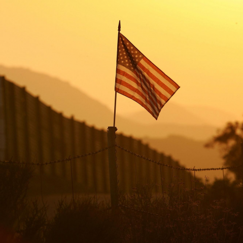 U.S. flag at the U.S.-Mexico border